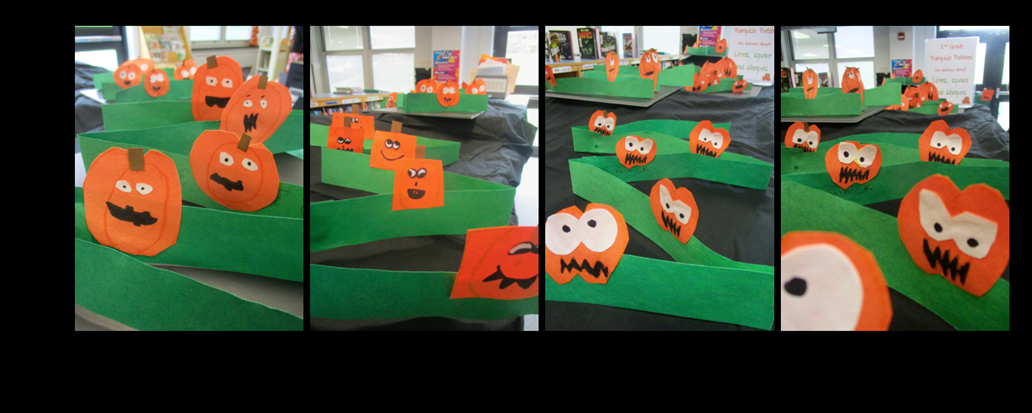 Pumpkin patches by Ms. Sabol's 2nd grade art students on display in the Elementary Library!