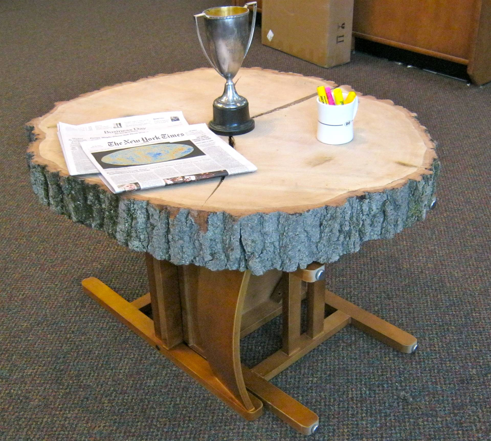 """Library """"table"""" made from slab of historic school tree."""