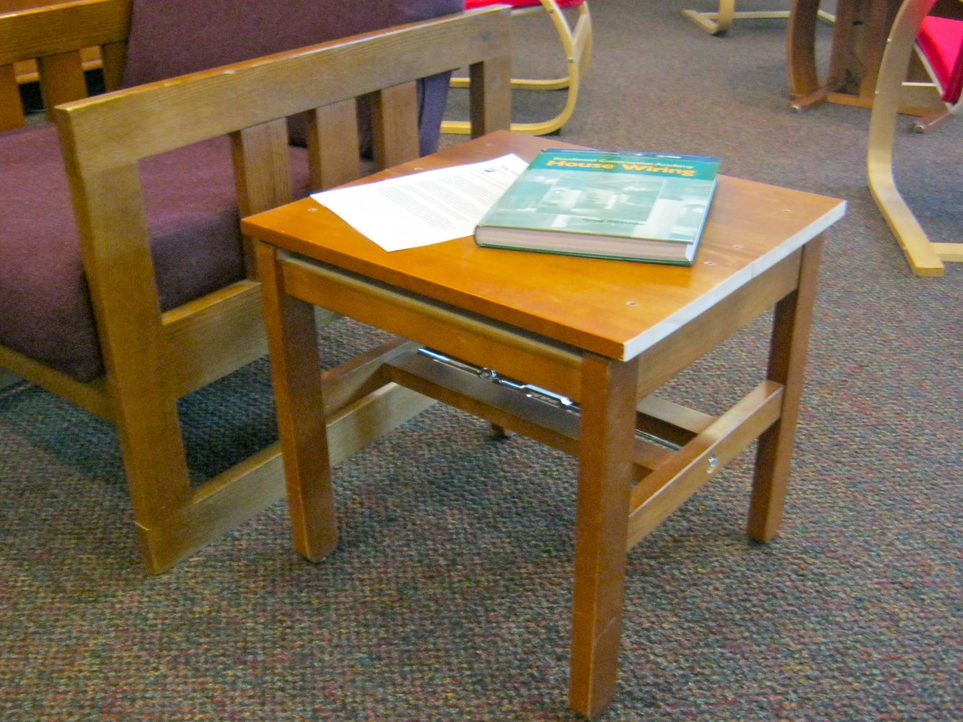 A favorite: Library table made from broken library chair.