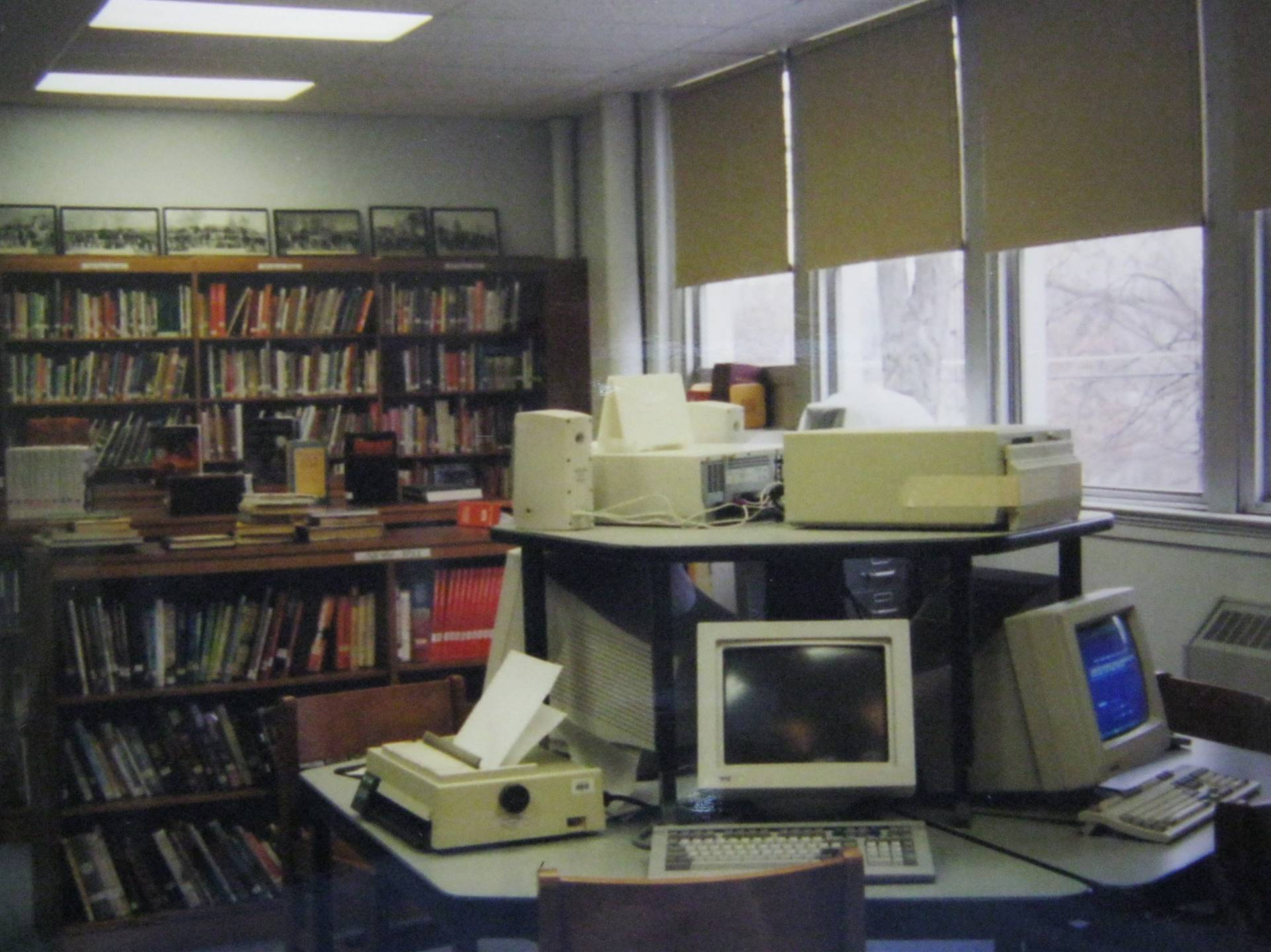 Our four library computers in the 2003 MSHS library.