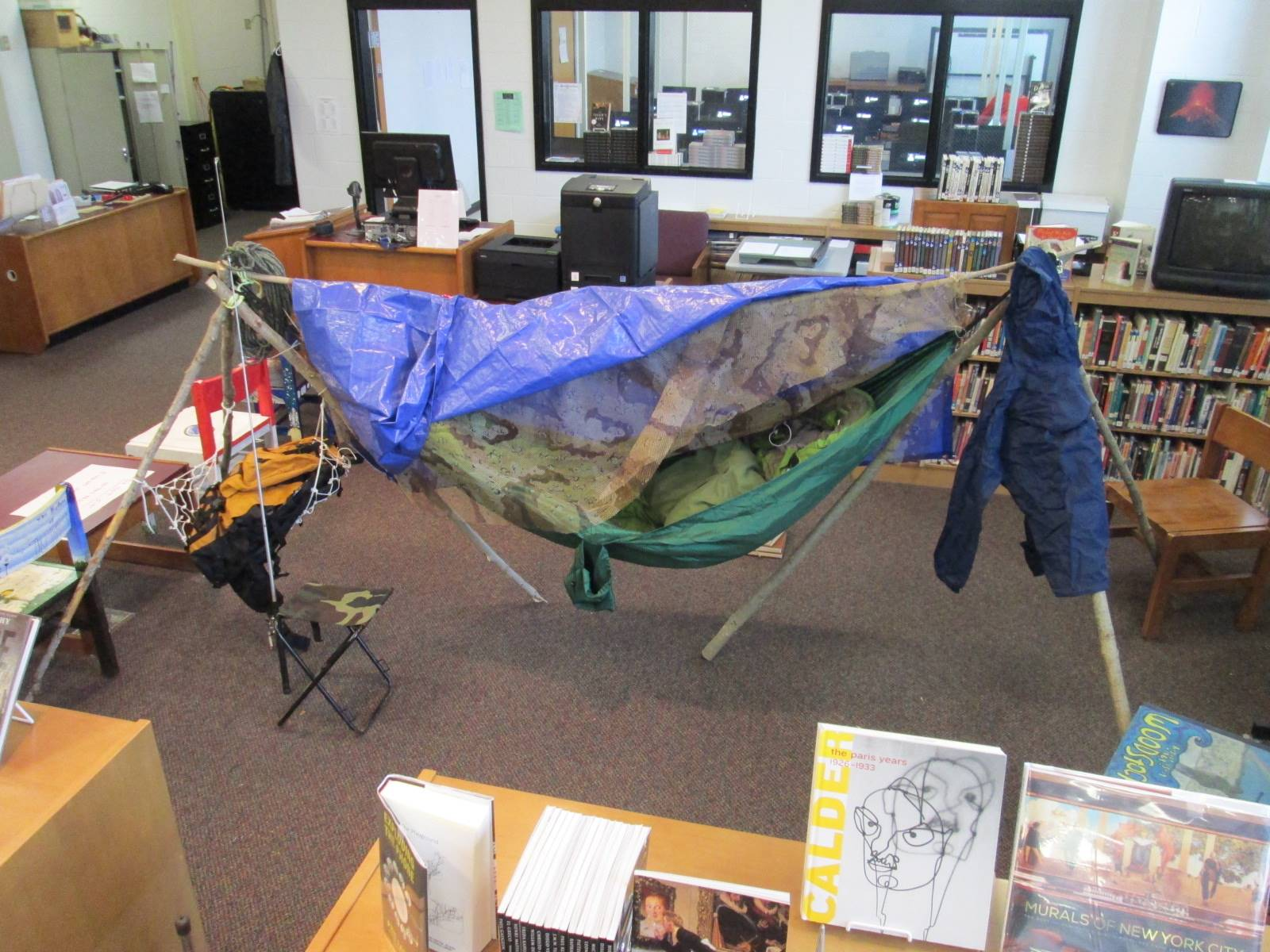 On My Own Time: student camping display in ACSLIB.