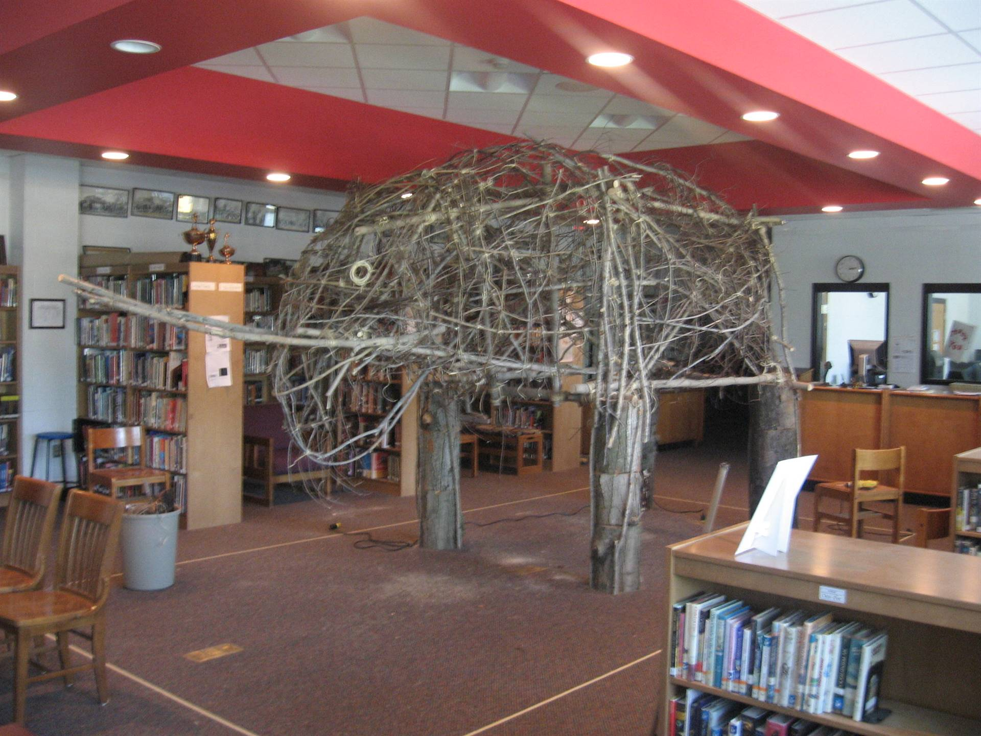 A favorite: Life-size mastodon constructed of tree limbs and trunks.