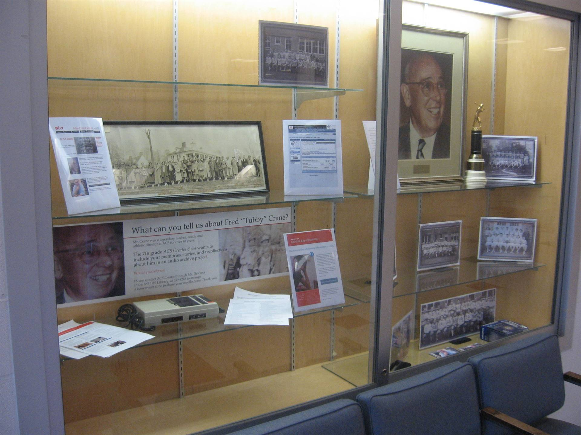 Lobby display: MS library research project about Tubby Crane.