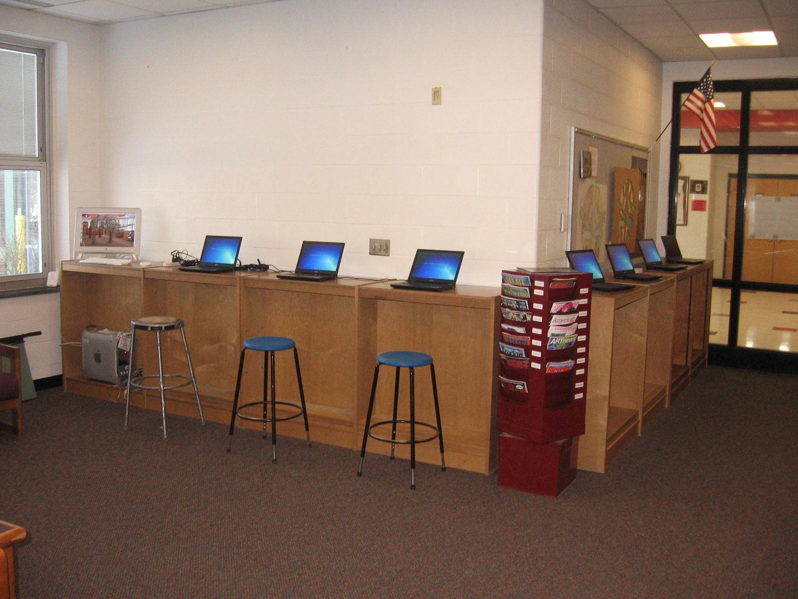 A favorite: Adapting book fixture to laptop stations.