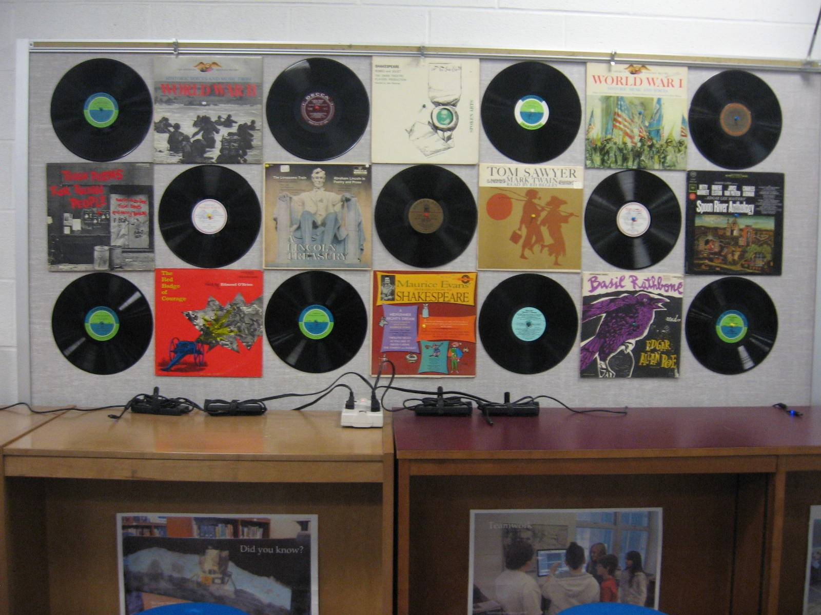 A favorite: Vintage record display to get patrons in the door.