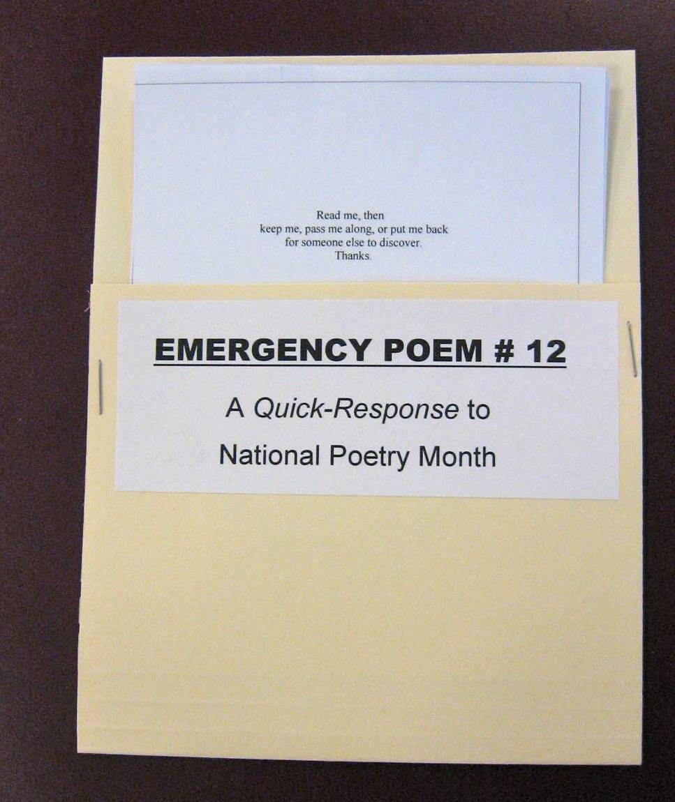 A favorite: Emergency Poems for posting school-wide during National Poetry Month.