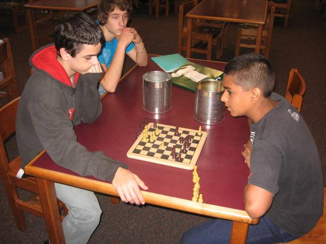 Contestants in Library chess tournament.