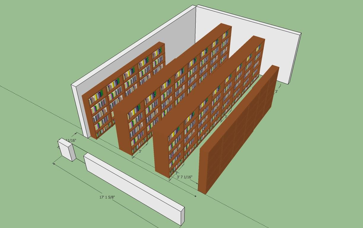 A favorite: Using SketchUp 3D rendering to visualize a bookshelf move an adjacent room.