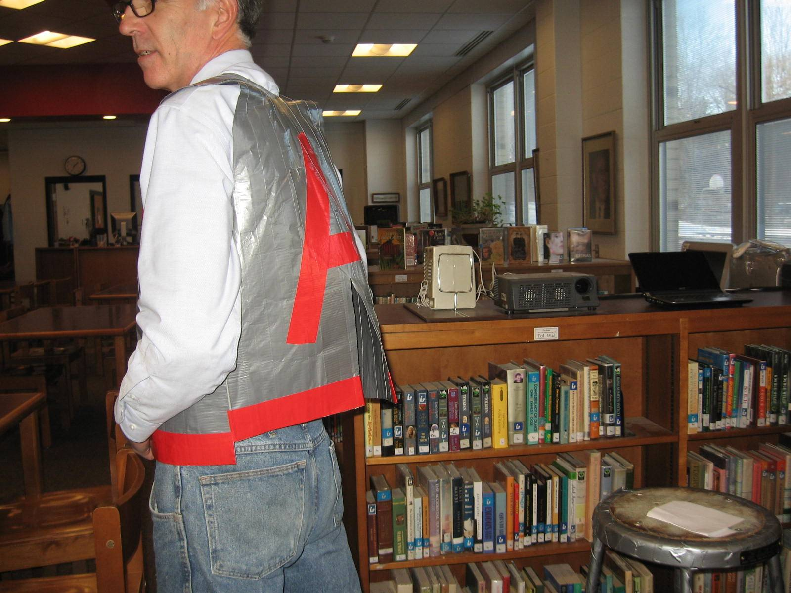Modeling a student-made duct tape vest: ACSIB Makerspace.