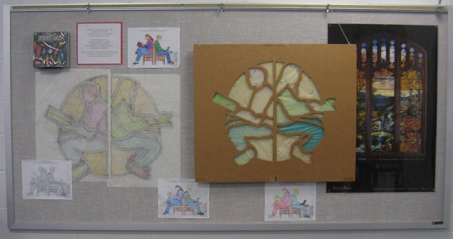 """Progress bulletin board: """"stained glass"""" project to wall mural."""