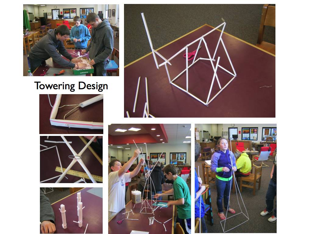 Straw and paperclip architecture in the ACSLIB makerspace.