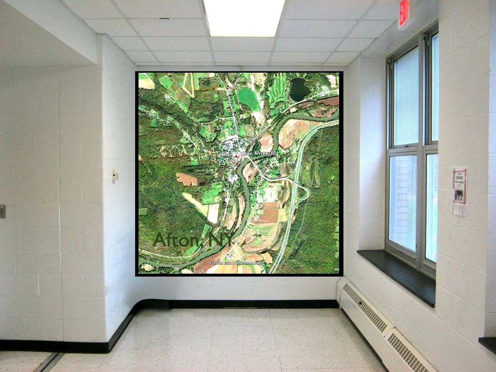 Photo illustration of a proposed Afton map in the math hallway.