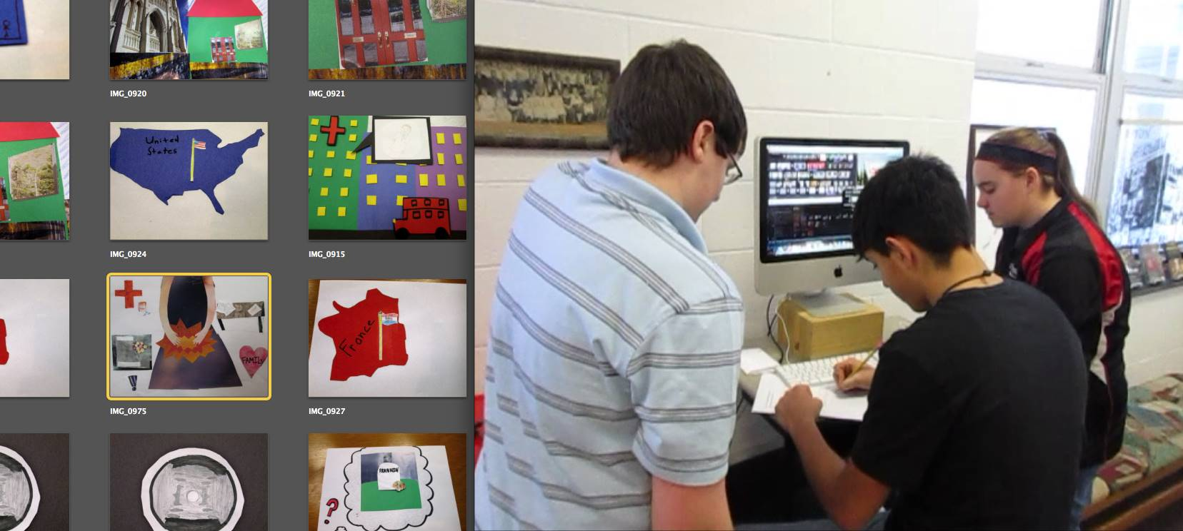 Science students creating animated video in the ACSLIB Makerspace.