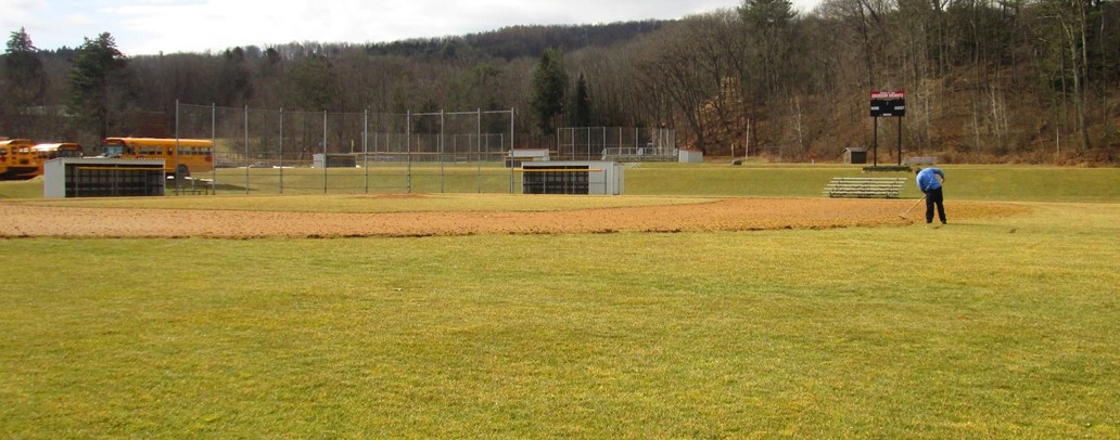 Spring view of ACS baseball field.