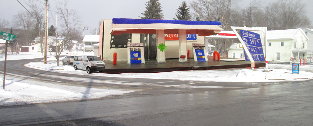 Photo illustration of of kindergartener's gas station model.