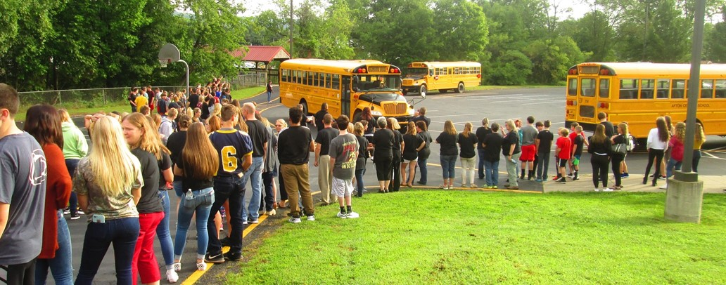 The entire MS/HS greets Elementary students arriving in the morning!