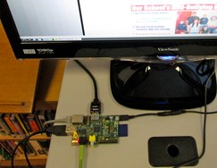 Image of a rasperry Pi configured as a library computer.