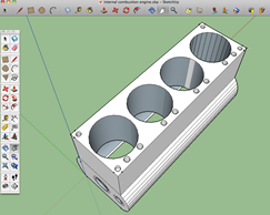 Image of SketchUp 3D drawing: 4-cylinder engine block.