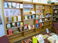 Image of library shelves featuring the latest arrivals.