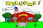 Cartoon image of a school with Welcome above the building.
